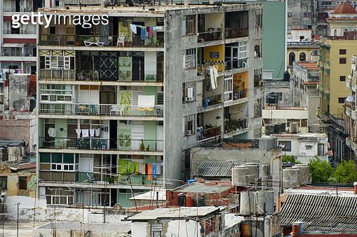 Side view of many buildings in downtown Havana, Cuba - gettyimageskorea