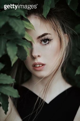 Girl in leaves - gettyimageskorea