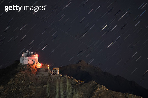 Star trail with Namgyal Tsemo Monastery in Leh city,Ladakh region, India. - gettyimageskorea