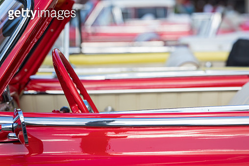 Colourful Cuban Cars lined up in Havana, the Capital of Cuba. - gettyimageskorea