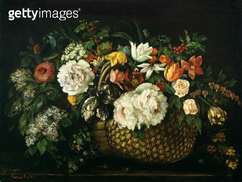 <b>Title</b> : Flowers in a Basket, 1863 (oil on canvas)<br><b>Medium</b> : oil on canvas<br><b>Location</b> : Art Gallery and Museum, Kelvingrove, Glasgow, Scotland<br> - gettyimageskorea