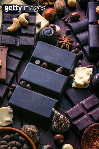 Assorted chocolate, nuts and dried fruit in old fashioned style - gettyimageskorea