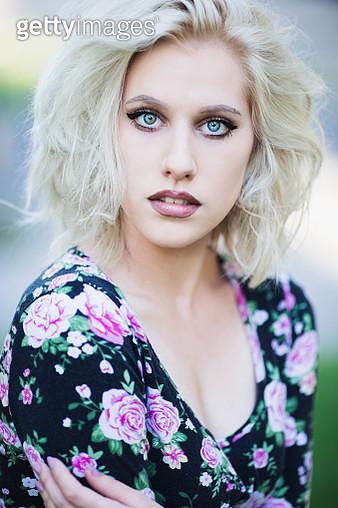 Blond girl portrait - gettyimageskorea