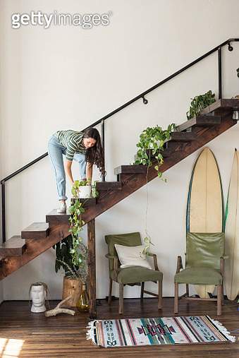 Young woman on stairs in a loft caring for potted plant - gettyimageskorea