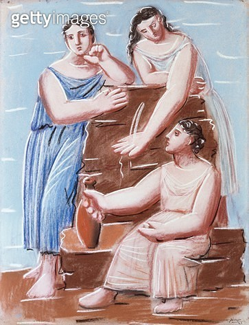<b>Title</b> : Three Women at the Fountain, 1921 (pastel on wove paper)<br><b>Medium</b> : pastel on wove paper<br><b>Location</b> : Museum of Fine Arts, Houston, Texas, USA<br> - gettyimageskorea
