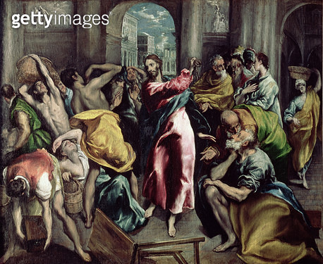 <b>Title</b> : Christ Driving the Traders from the Temple, c.1600 (oil on canvas) (for detail see 26048)<br><b>Medium</b> : oil on canvas<br><b>Location</b> : National Gallery, London, UK<br> - gettyimageskorea