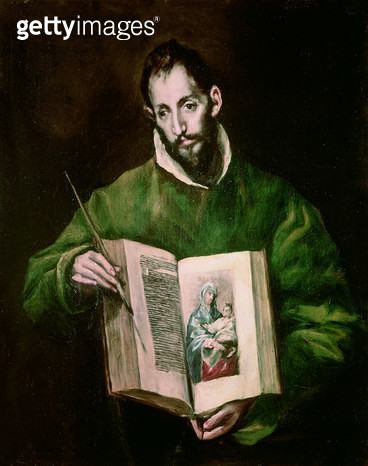 <b>Title</b> : St. Luke (oil on canvas)<br><b>Medium</b> : oil on canvas<br><b>Location</b> : Toledo Cathedral, Castilla y Leon, Spain<br> - gettyimageskorea