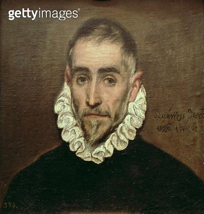 <b>Title</b> : Portrait of an unknown gentleman, c.1594 (oil on canvas)<br><b>Medium</b> : <br><b>Location</b> : Prado, Madrid, Spain<br> - gettyimageskorea