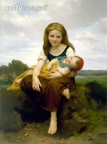 <b>Title</b> : The Elder Sister, 1869 (oil on canvas)<br><b>Medium</b> : oil on canvas<br><b>Location</b> : Museum of Fine Arts, Houston, Texas, USA<br> - gettyimageskorea