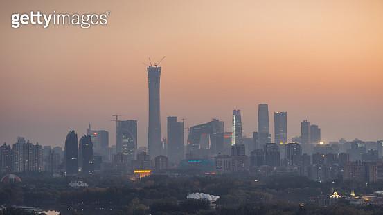 Beijing Urban Skyline in air pollution at Dusk - gettyimageskorea