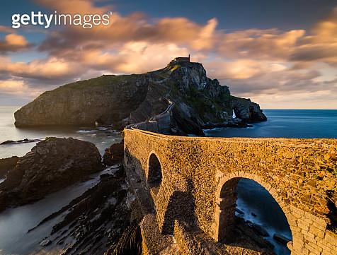 San Juan de Gaztelugatxe at sunset in Basque Country, Spain. - gettyimageskorea
