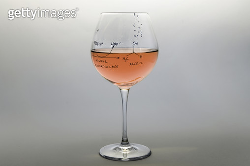 wine, glass and chemical formulas - gettyimageskorea