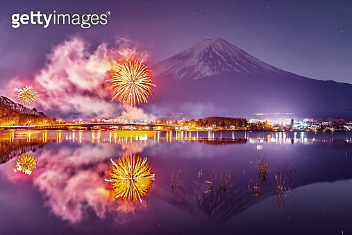 Fuji Mountain and Firework Festival - gettyimageskorea