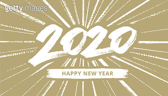 New Year typography 2020.  You can edit the colors or sizes easily if you have Adobe Illustrator or other vector software. All shapes are vector - gettyimageskorea