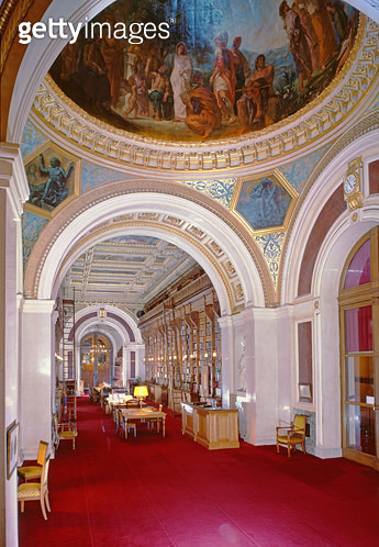 <b>Title</b> : Interior of the library with a cupola painted by Eugene Delacroix (1798-1863) in 1847, 1836-41 (photo)<br><b>Medium</b> : <br><b>Location</b> : Palais du Luxembourg, Paris, France<br> - gettyimageskorea