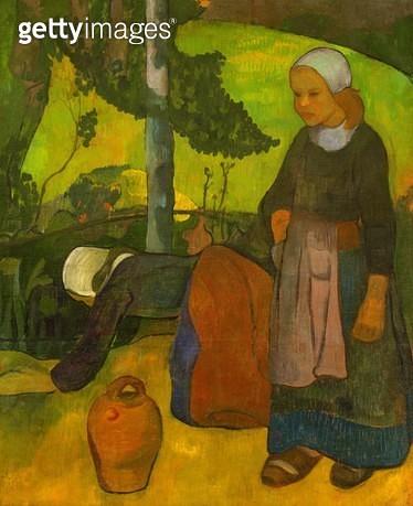 <b>Title</b> : Washerwomen, c.1891-92 (oil on canvas)<br><b>Medium</b> : oil on canvas<br><b>Location</b> : Museum of Fine Arts, Houston, Texas, USA<br> - gettyimageskorea