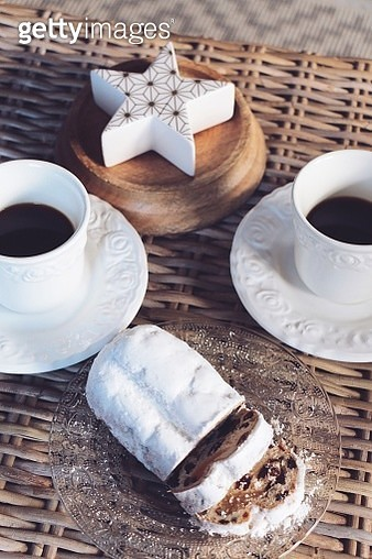 High Angle View Of Black Coffee And Bread On Table - gettyimageskorea