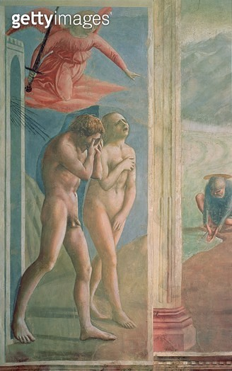 <b>Title</b> : Adam and Eve banished from Paradise, c.1427 (fresco) (post restoration) (see also 200134)<br><b>Medium</b> : <br><b>Location</b> : Brancacci Chapel, Santa Maria del Carmine, Florence, Italy<br> - gettyimageskorea
