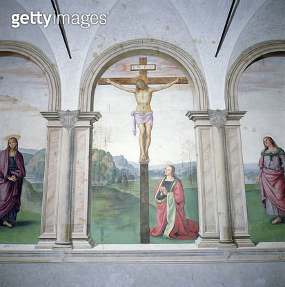<b>Title</b> : Crucifixion, 1493-6 (fresco) (see also 169448)<br><b>Medium</b> : <br><b>Location</b> : Santa Maria Maddalena dei Pazzi, Florence, Italy<br> - gettyimageskorea