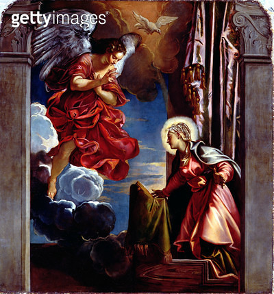<b>Title</b> : The Annunciation (oil on canvas)<br><b>Medium</b> : <br><b>Location</b> : San Rocco, Venice, Italy<br> - gettyimageskorea