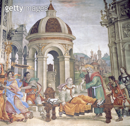 <b>Title</b> : The Raising of Drusiana, from the Strozzi Chapel, 1502 (fresco)Additional Infolife of John the Evangelist; 'Drusiana arise, and<br><b>Medium</b> : fresco<br><b>Location</b> : Santa Maria Novella, Florence, Italy<br> - gettyimageskorea