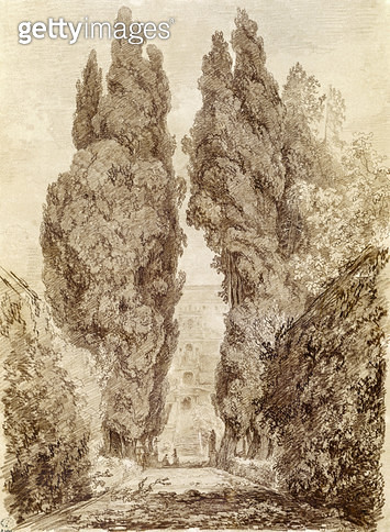 <b>Title</b> : Large Cypresses at the Villa d'Este (red chalk on paper)<br><b>Medium</b> : red chalk on paper<br><b>Location</b> : Musee des Beaux-Arts et d'Archeologie, Besancon, France<br> - gettyimageskorea