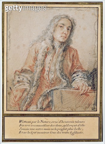 <b>Title</b> : Portrait of Jean-Antoine Watteau (1684-1721) (red chalk, white chalk & charcoal on paper)<br><b>Medium</b> : red chalk, white chalk and charcoal on paper<br><b>Location</b> : Musee Conde, Chantilly, France<br> - gettyimageskorea