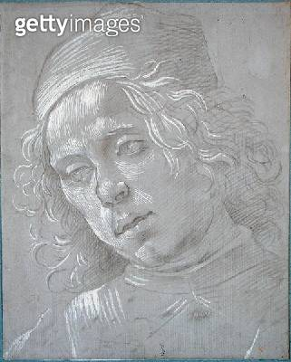 <b>Title</b> : Head of a Man Wearing a Hat, c.1480 (white chalk & silverpoint on paper)Additional InfoTete d'Homme coiffe d'un Bonnet;<br><b>Medium</b> : white chalk and silverpoint on paper<br><b>Location</b> : Musee Conde, Chantilly, France<br> - gettyimageskorea