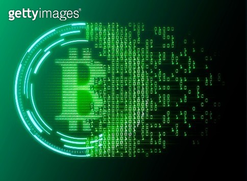Conceptual illustration representing the bitcoin cryptocurrency. Bitcoin is a type of digital currency, created in 2009, which operates independently of any bank. Certain vendors now accept Bitcoins as payment of goods or services. - gettyimageskorea