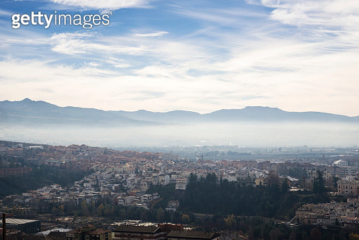 Elevated view of Granada skyline with mist in the winter - gettyimageskorea