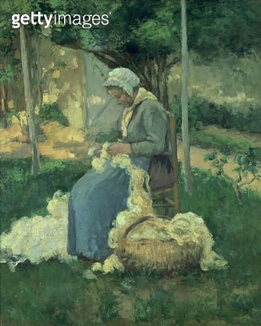 <b>Title</b> : Female Peasant Carding Wool, 1875<br><b>Medium</b> : oil on canvas<br><b>Location</b> : Buhrle Collection, Zurich, Switzerland<br> - gettyimageskorea