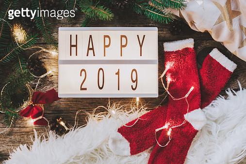 Happy 2019 written on light box - gettyimageskorea