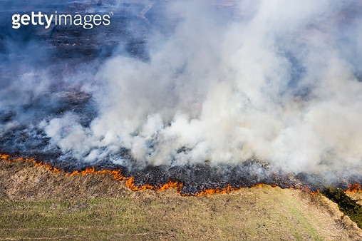 Aerial view of wildfire on field from hot weather, natural disaster accident, burning forest and huge clouds of smoke, drone shot - gettyimageskorea