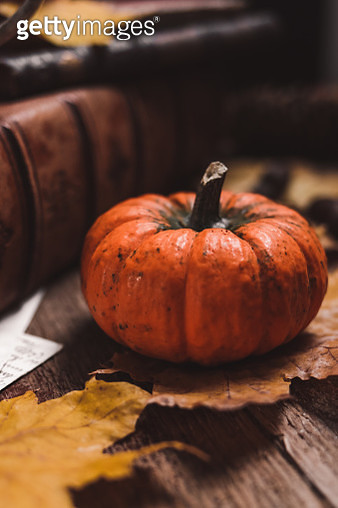 Autumn still life with pumpkin and colorful dry leaves on wooden board - gettyimageskorea