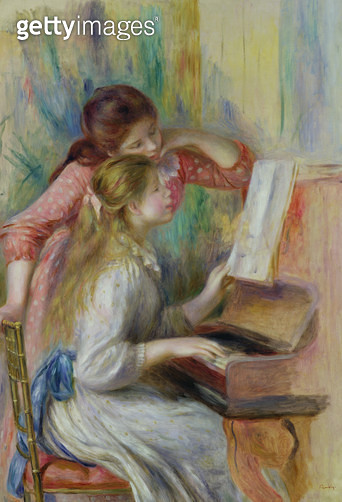 <b>Title</b> : Young Girls at the Piano, c.1890 (oil on canvas)<br><b>Medium</b> : oil on canvas<br><b>Location</b> : Musee de l'Orangerie, Paris, France<br> - gettyimageskorea