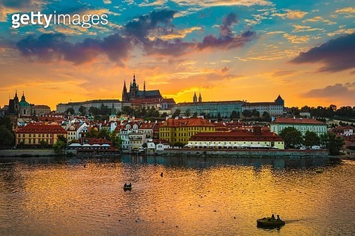 View of Charles Bridge in Prague during sunset, River Vltava Czech Republic. - gettyimageskorea