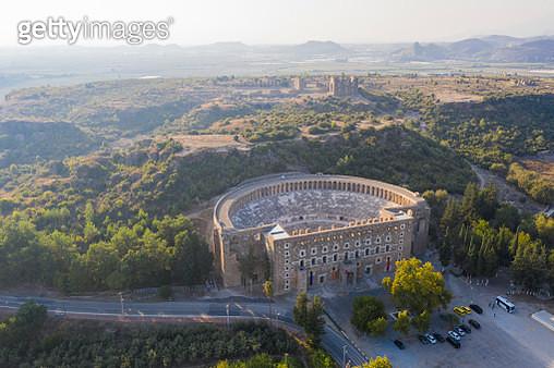 Aerial view of Aspendos Theater  in Antalya Turkey. Taken via drone - gettyimageskorea