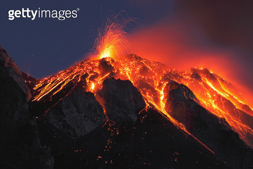 Italy, Sicily, Lava flow from stromboli volcano - gettyimageskorea
