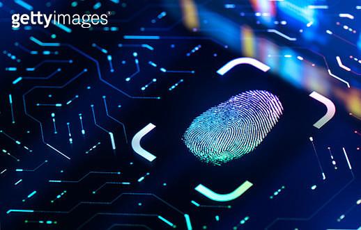 Fingerprint Biometric Authentication Button. Digital Security Concept - gettyimageskorea