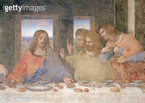 <b>Title</b> : The Last Supper, 1495-97 (fresco) (post restoration) (detail of 161739)<br><b>Medium</b> : fresco<br><b>Location</b> : Santa Maria della Grazie, Milan, Italy<br> - gettyimageskorea