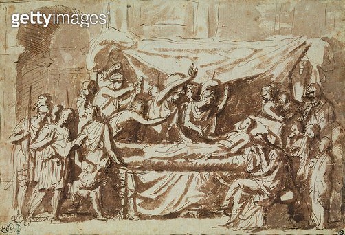 <b>Title</b> : The Death of Germanicus (15BC-19AD) c.1630 (pen & ink on paper)<br><b>Medium</b> : pen and ink on paper<br><b>Location</b> : Musee Conde, Chantilly, France<br> - gettyimageskorea