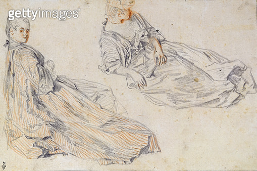 <b>Title</b> : Two Ladies Seated on the Ground, study for 'Les Champs Elysees' (pencil & sepia on paper) (post restoration)Additional Infodeux<br><b>Medium</b> : pencil and sepia on paper<br><b>Location</b> : Musee Conde, Chantilly, France<br> - gettyimageskorea