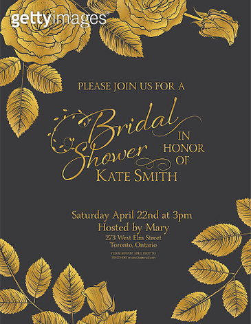 Party Invitation With Gold Metallic Elements - gettyimageskorea