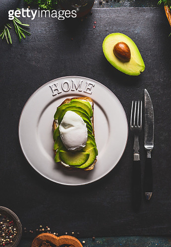 Sandwich with avocado and poached egg - gettyimageskorea