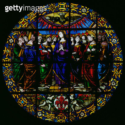 <b>Title</b> : Ave Maria (stained glass)<br><b>Medium</b> : <br><b>Location</b> : Santo Spirito, Florence, Italy<br> - gettyimageskorea