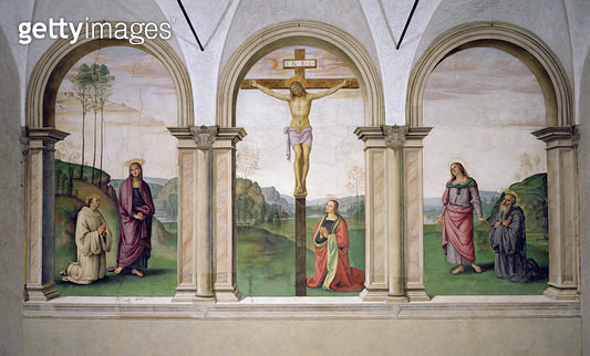 <b>Title</b> : The Crucifixion, 1494-96 (fresco)Additional InfoJohn the Evangelist and Benedict;<br><b>Medium</b> : fresco<br><b>Location</b> : Santa Maria Maddalena dei Pazzi, Florence, Italy<br> - gettyimageskorea