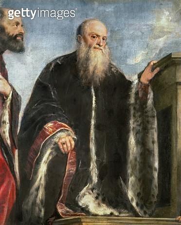 <b>Title</b> : The Vendramin Family, detail of Gabriel Vendramin (d.1552) 1543-47 (oil on canvas)<br><b>Medium</b> : oil on canvas<br><b>Location</b> : National Gallery, London, UK<br> - gettyimageskorea