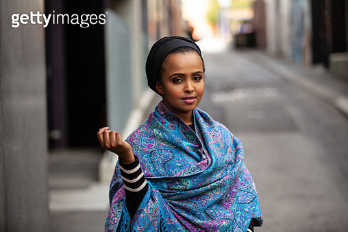 Portrait of a young woman wearing hijab in the city - gettyimageskorea