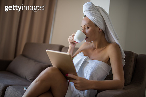 Morning coffee with tablet in hands - gettyimageskorea