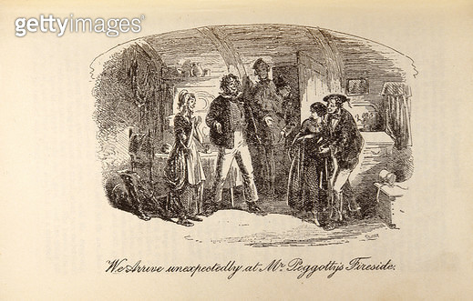 <b>Title</b> : 'We Arrive Unexpectedly at Mr Peggotty's Fireside', from 'David Copperfield' by Charles Dickens (1812-70) (engraving)<br><b>Medium</b> : engraving<br><b>Location</b> : Private Collection<br> - gettyimageskorea